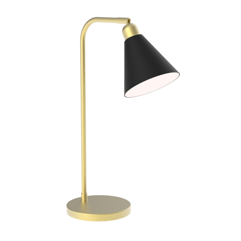 Brushed Brass Desk Lamp With Metal Cone, Metal Desk Lamps Uk